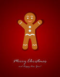 Gingerbread man on red background Royalty Free Stock Image