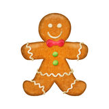 Gingerbread man with red bow. Christmas symbol. Stock Photo