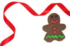 Gingerbread Man in Red Christmas Frame Royalty Free Stock Images