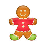 Gingerbread man in red clothes. Christmas symbol. Stock Photos