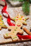 Gingerbread Man on a red ribbon Royalty Free Stock Images