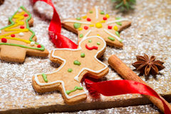 Gingerbread Man on a red ribbon Royalty Free Stock Photography