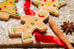 Gingerbread Man on a red ribbon Royalty Free Stock Image