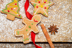 Gingerbread Man on a red ribbon Stock Images