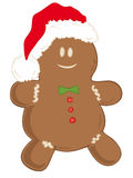 Gingerbread man with Santa Claus Hat. Royalty Free Stock Images