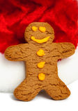 Gingerbread Man and Santa Hat Stock Images