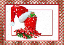 Santa hat on red party cup Royalty Free Stock Images
