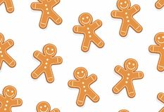 Gingerbread man seamless pattern. Isolated on white background royalty free illustration