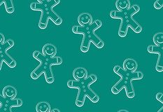Gingerbread man seamless pattern. Thin line style. isolated on green background royalty free illustration