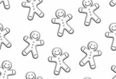 Gingerbread man seamless pattern. Thin line style. isolated on white background royalty free illustration
