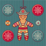 Gingerbread Man. Set of color Christmas toys. Holiday decorations. Template for design. Winter. New Year decoration. Cut the paper. Eps. Pattern toy. Christmas Stock Photos