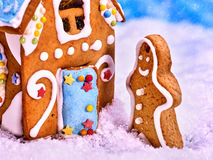 Gingerbread man side view, close-up. Royalty Free Stock Image
