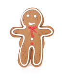 Gingerbread Man Smiling and Isolated on White Back Royalty Free Stock Photos