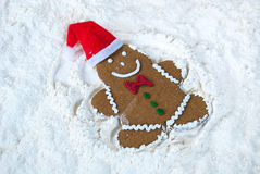 Gingerbread man snow angel Royalty Free Stock Images