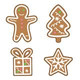 Gingerbread man snowflake christmas tree gift icon set illustration vector. Gingerbread man snowflake christmas tree gift icon set illustration stock illustration
