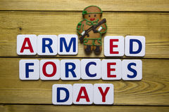 Gingerbread man in a soldier Stock Photos