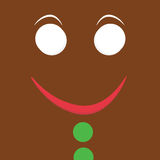 Gingerbread Man. Square gingerbread man face with green buttons Royalty Free Stock Image