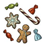 Gingerbread man, star, candy cane. Vector vintage color engraving illustration. Gingerbread man, star, candy cane. Isolated on white background. Vector vintage stock illustration