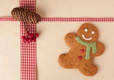 Gingerbread man on stylish holiday background royalty free stock photo