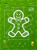 Gingerbread man symbol as technical blueprint drawing Royalty Free Stock Photos