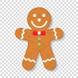 Gingerbread Man. On transparent background, traditional Christmas cookie Royalty Free Stock Photo