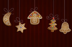 Gingerbread man tree and stars Stock Image