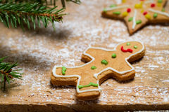 Gingerbread Man under a sprig of spruce Stock Photography