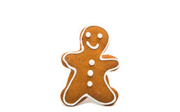 Gingerbread man on white background stock illustration