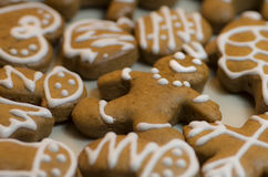 The Gingerbread Man. On white background with christmas  gingerbread pieces Royalty Free Stock Image
