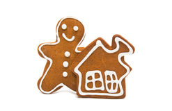 Gingerbread man  on white background Royalty Free Stock Photos
