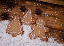 Gingerbread man, winter setting Stock Photography