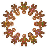 Gingerbread Man Woman Circle Of Friends. Gingerbread men and women - circle of friends for christmas time Stock Image