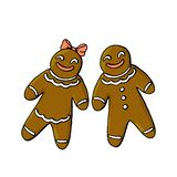 Gingerbread man and woman isolated on white background. Gingerbread man and woman isolated on a white background royalty free illustration