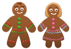 Gingerbread Man Woman Love Couple. Gingerbread man and woman - cute and sweet christmas cookie couple vector illustration
