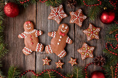 Gingerbread man and woman, star cookies Royalty Free Stock Images