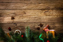 Gingerbread man on wood Stock Images