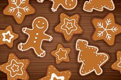 Gingerbread man on wooden table background. Merry christmas holiday card with homemade cookies. royalty free illustration