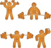 Gingerbread man works out at the gym. Set of four gingerbread men workout at the gym, lift dumbells and barbells and squat with them. perfect for any gym or royalty free illustration