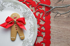 Gingerbread man on the Xmas plate Stock Photos