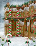 Gingerbread Manor 2. Fantasy gingerbread house with Christmas garlands and mistletoe Stock Photo