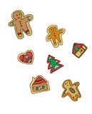 Gingerbread men. Set. Design elements Stock Photography