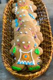 Gingerbread men in a bakery basket Royalty Free Stock Photos