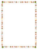 Gingerbread men and candy cane border. 8.5 x 11 (U.S. letter sized) border of colorful gingerbread men, candy canes and presents stock illustration