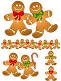 Gingerbread Men Clip Art. An illustration featuring an assortment of gingerbread men Royalty Free Stock Photography