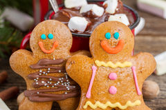 Gingerbread men close  up Royalty Free Stock Images