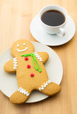 Gingerbread men and coffee Royalty Free Stock Image