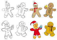 Gingerbread men cookies. Set of four different Christmas gingerbread men cookies in two types: outline and colours Stock Images