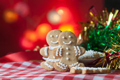 Gingerbread Men Cookies on Table Stock Photos
