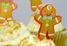Gingerbread men cupcakes Royalty Free Stock Image