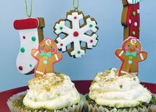 Gingerbread men cupcakes Stock Images
